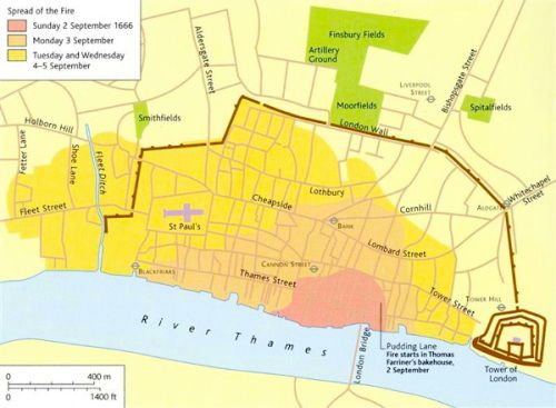 Lane Fire Map.Great Fire Of London Map Great Fire Of London