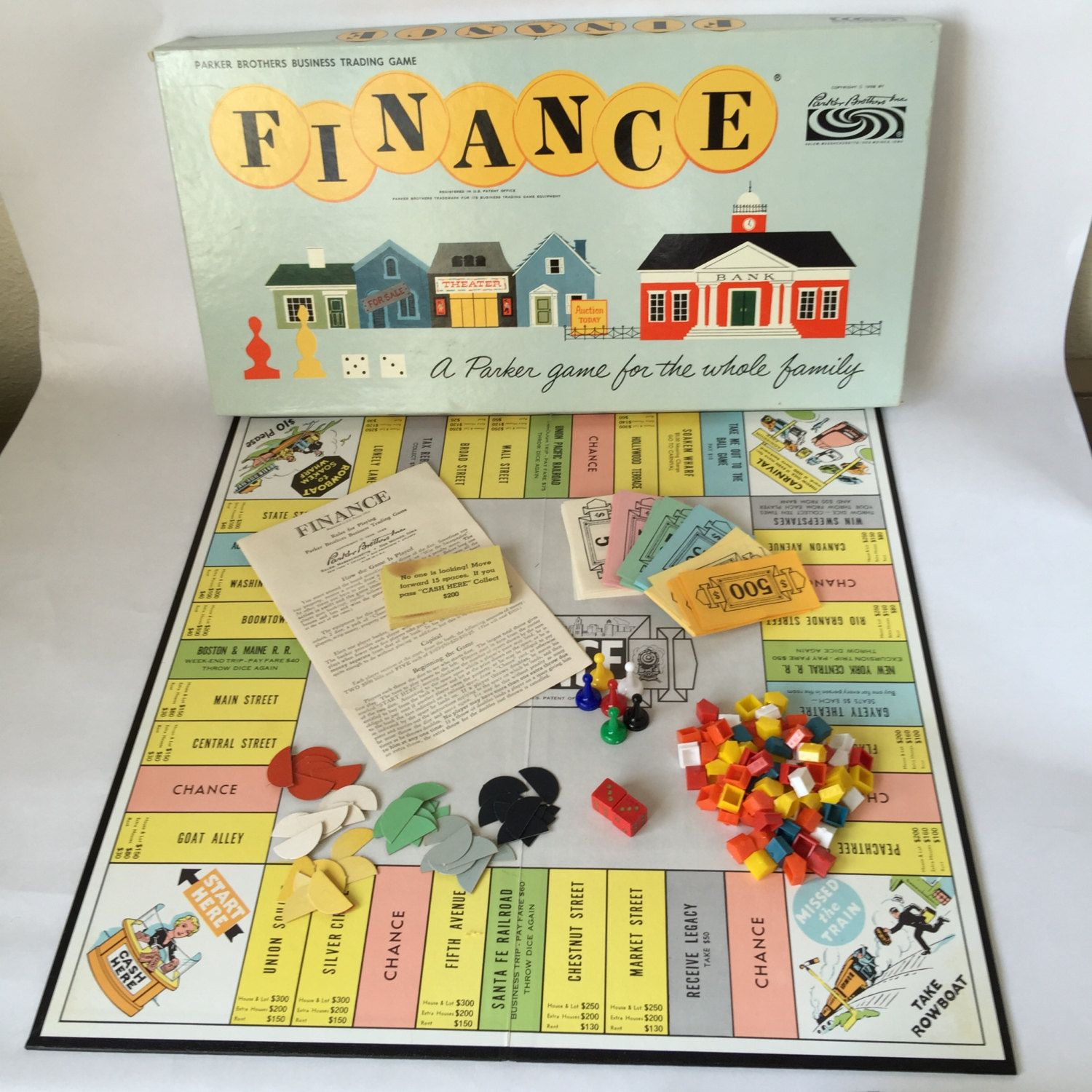 Finance board game vintage parker brothers 1962 fun family for Vintage sites like etsy