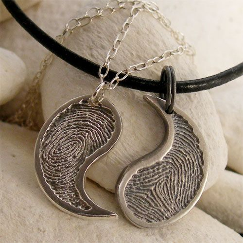 fe628dc9ef His Hers Yin Yang Necklace Set, Silver Fingerprint Jewelry, Personalized  Silver Yin Yang Matching Couples Necklaces, Anniversary Jewelry via Etsy