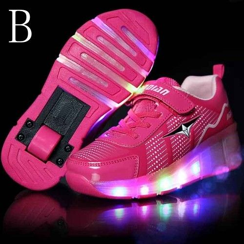 new product 3faf0 2c0ec Zapatillas Con Ruedas y Luces Rosas Niña