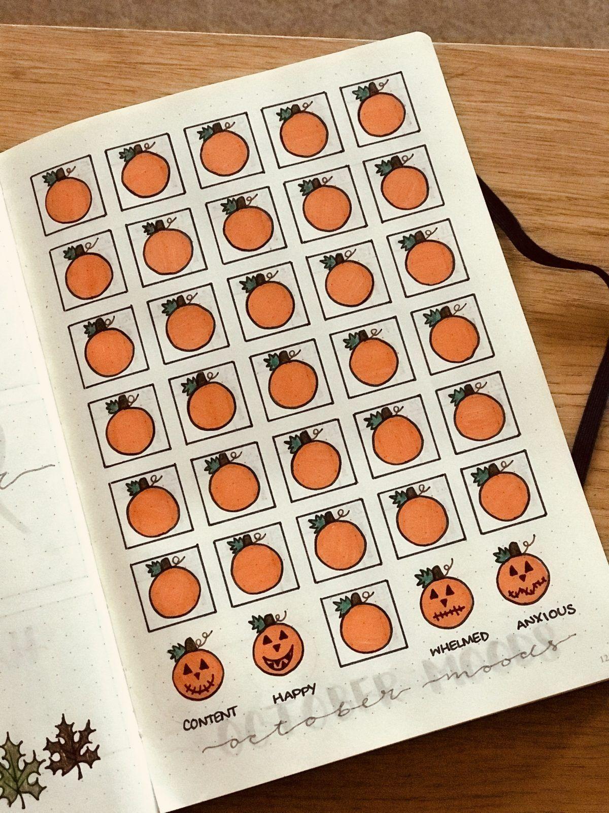 Halloween Mood Tracker {Spooky October bullet journal mood tracker ideas!}