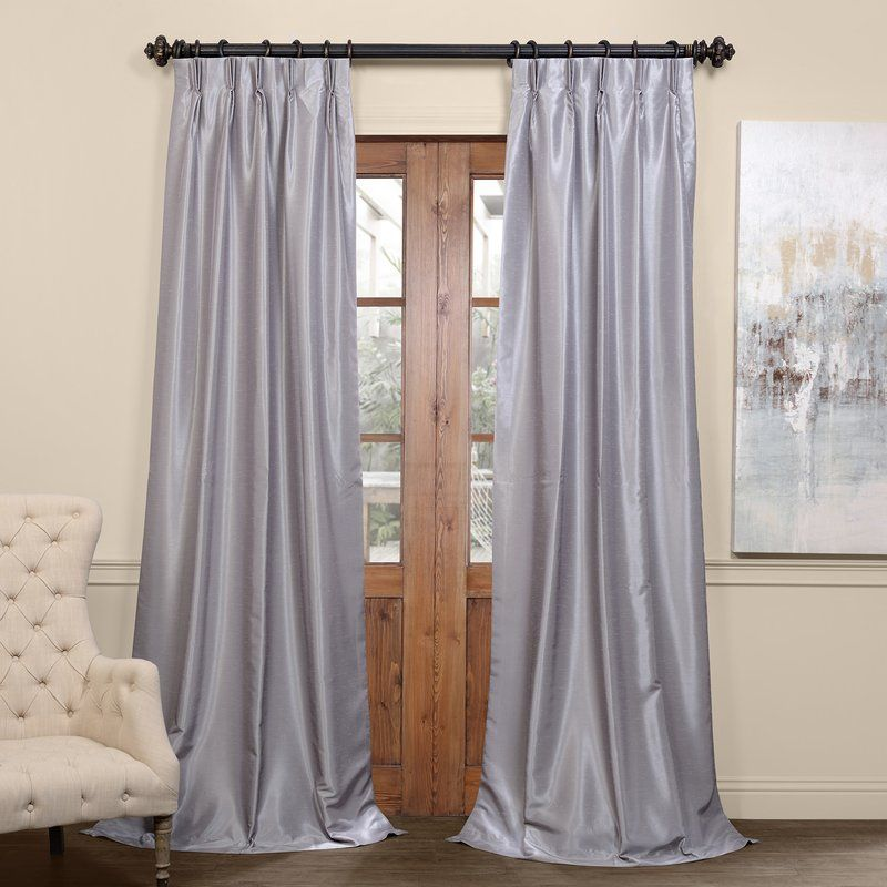 Forbell Solid Blackout Vintage Textured Faux Dupioni Thermal Pinch Pleat Single Curtain Panel Reviews B Pleated Curtains Velvet Curtains Faux Silk Curtains
