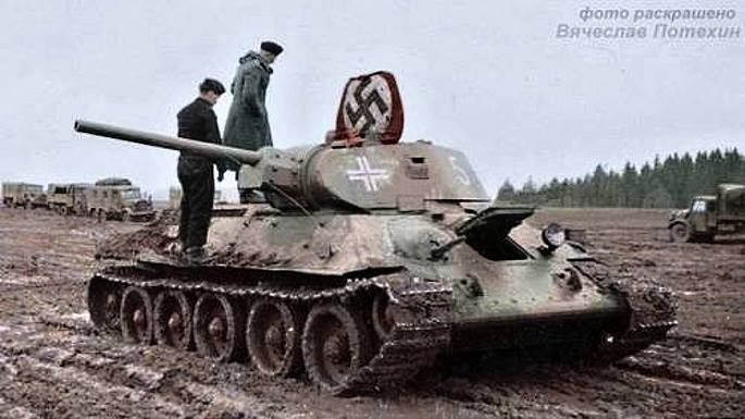 russian t34 tank captured by the german army in 1944