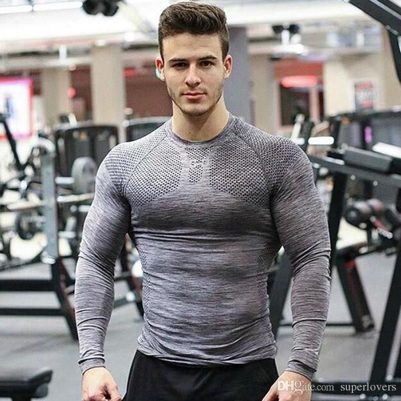 Men Muscle Sport Long Sleeve Slim Fit Tops Gym Tight Pullover Blouse T Shirt New