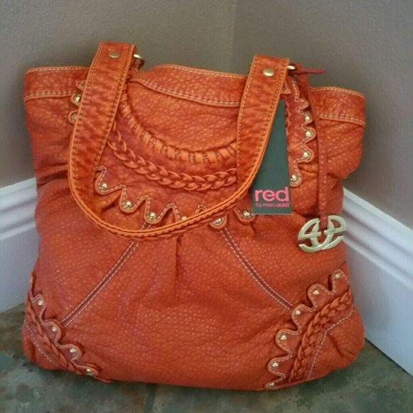 Red By Marc Ecko Purse Burnt Orange Super Soft Leather Nwt Echo Bags Shoulder