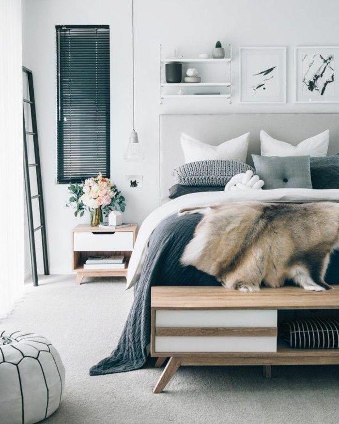 schlafzimmer ideen heller teppichboden hocker und frische blumen - teppichboden für schlafzimmer