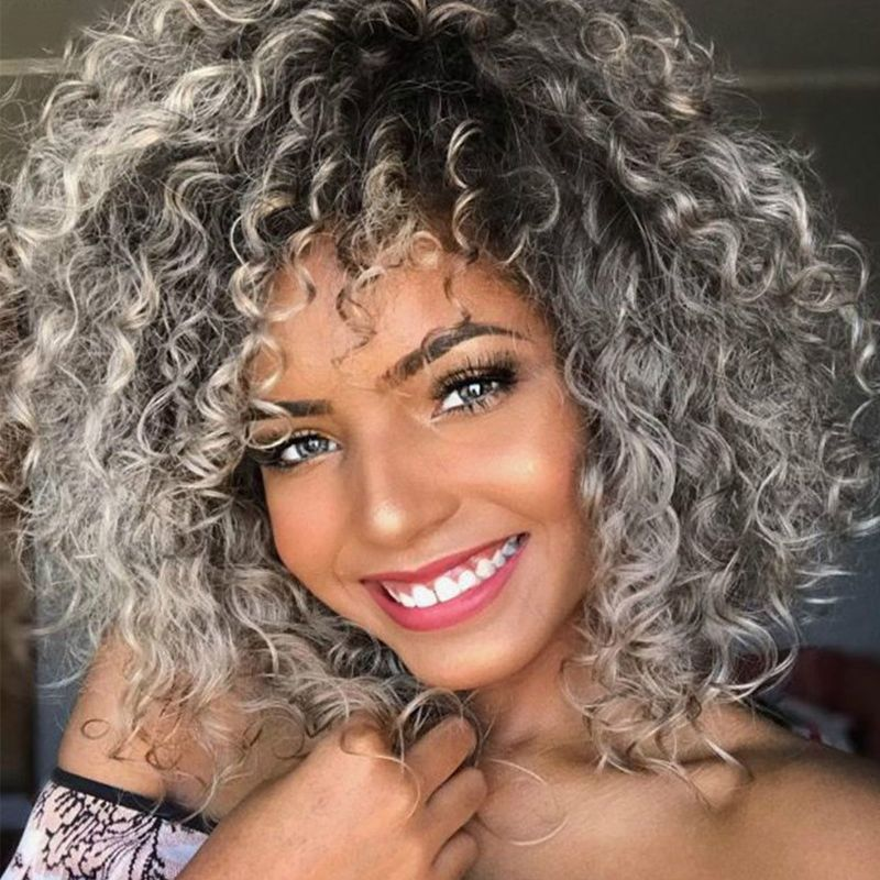 Lovelywholesale Cheap Wigs Lovely Chic Basic Curly Grey Wigs In 2020 Curly Hair Styles Ombre Curly Hair Curly Hair Styles Naturally