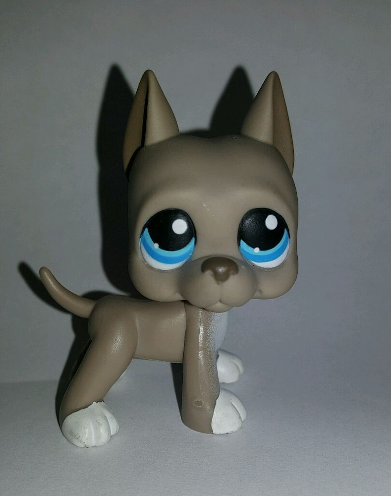Littlest Pet Shop Dog Grey Gray Great Dane Blue Eyes 184 Preowned