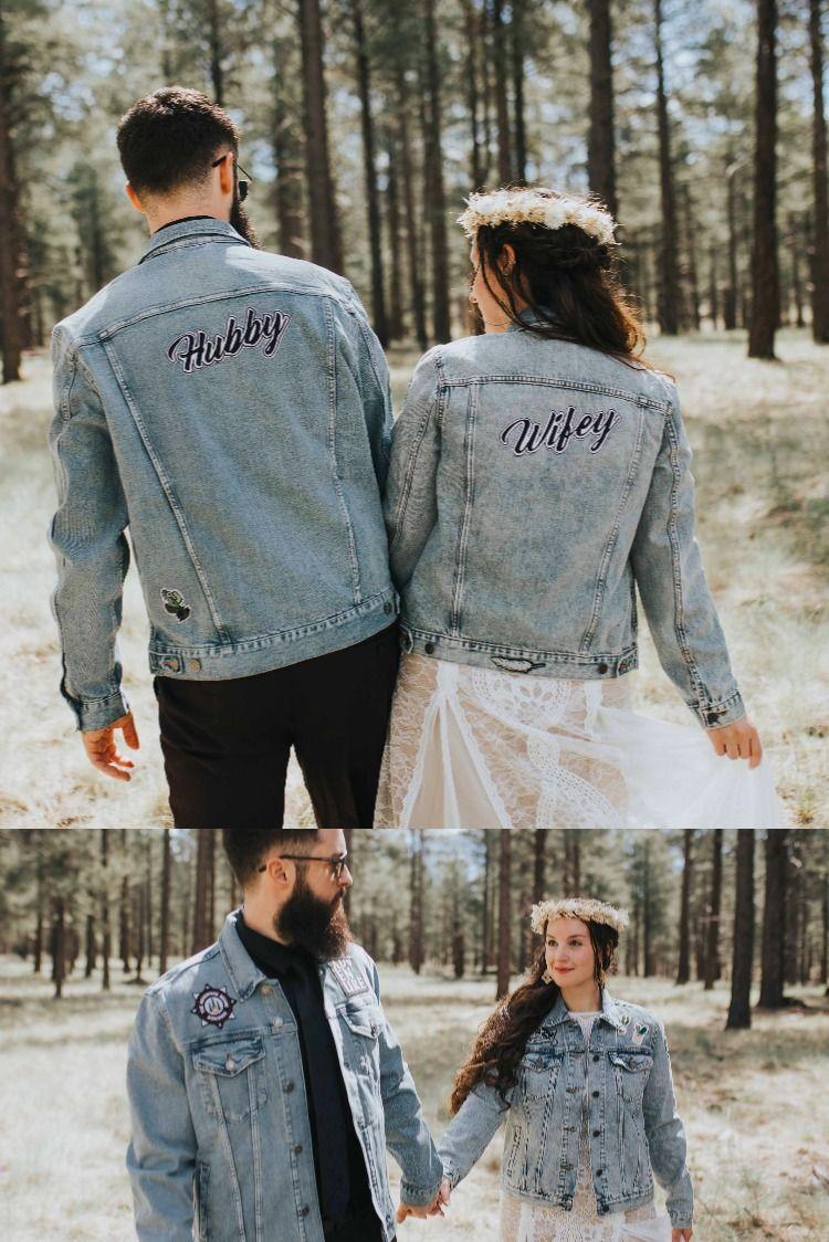 Arizona Flagstaff Wedding Custom Bride And Groom Jackets Wedding Jackets Destination Wedding Look Groom In Jeans Wifey Jacket Hubby Wifey [ jpg ]