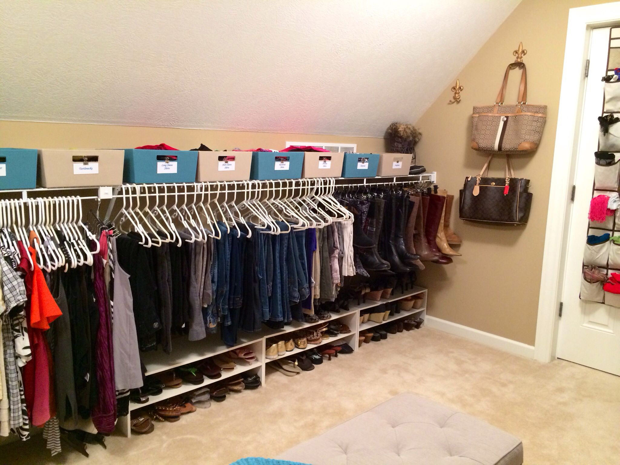 Room Above Garage Converted To Closet Skirt Hangers Used