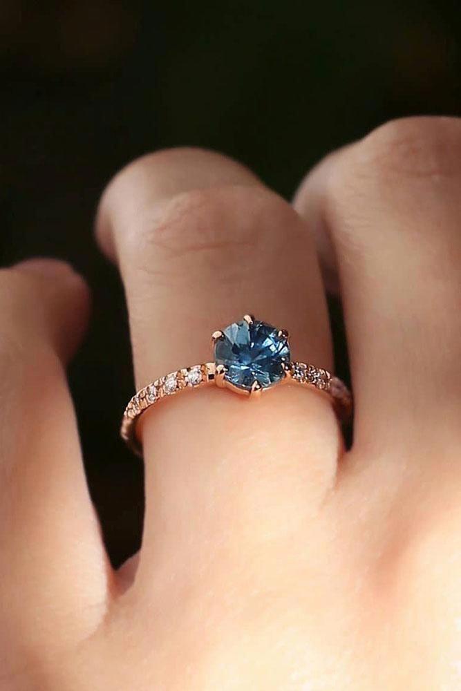 Pear shaped Aquamarine engagement ring rose gold Unique diamond wedding Alternative vintage Antique Stacking bridal gemstone Anniversary - Fine Jewelry Ideas