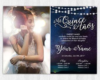 printable invitation quinceañera sweet 16 rustic starry night