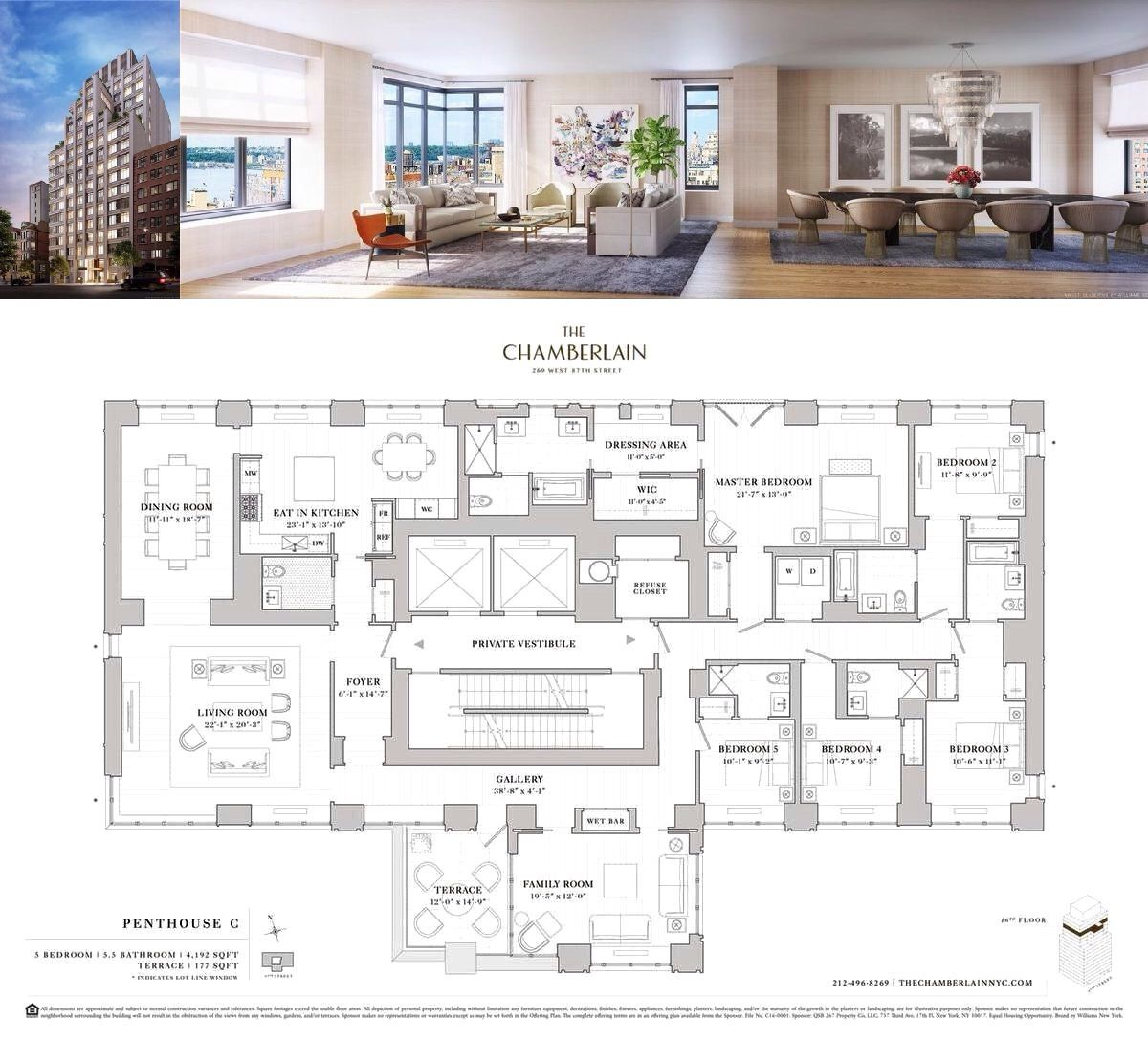 The Chamberlain S 4200 Square Foot Penthouse 3 Is A Distinctive Full Floor Home With 5 Bed Penthouse Apartment Floor Plan Condo Floor Plans Vintage House Plans