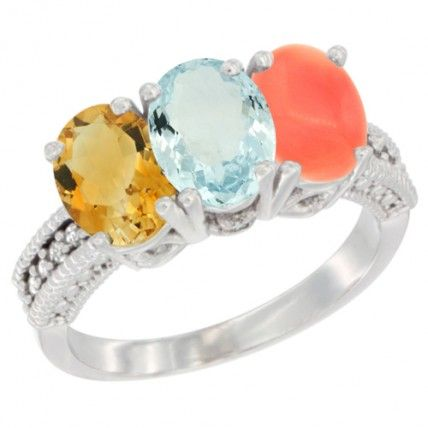 14K White Gold Natural Citrine, Aquamarine & Coral Ring 3-Stone 7x5 mm Oval Diamond Accent, sizes 5 - 10