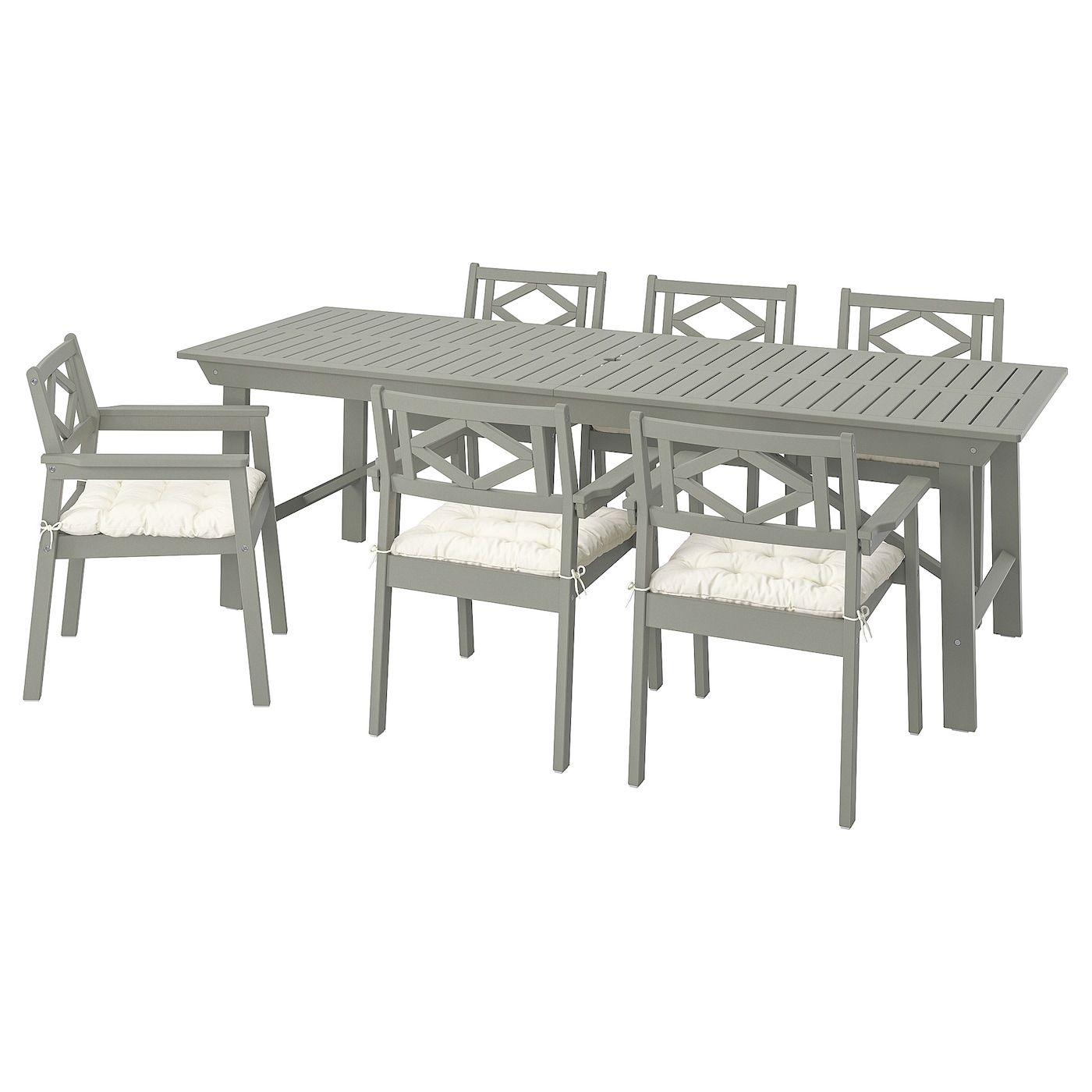 Bondholmen Table 6 Armchairs Outdoor Gray Stained Kuddarna