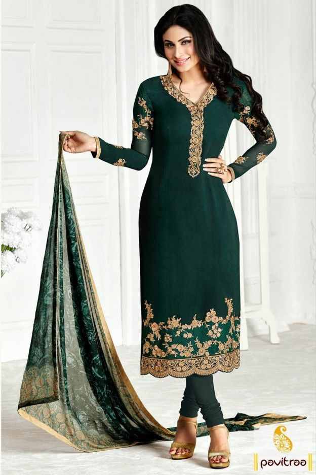 8df74b69f3 Nagin actress Shivanya #green color embroidery salwar suit for party online  shopping collection at low