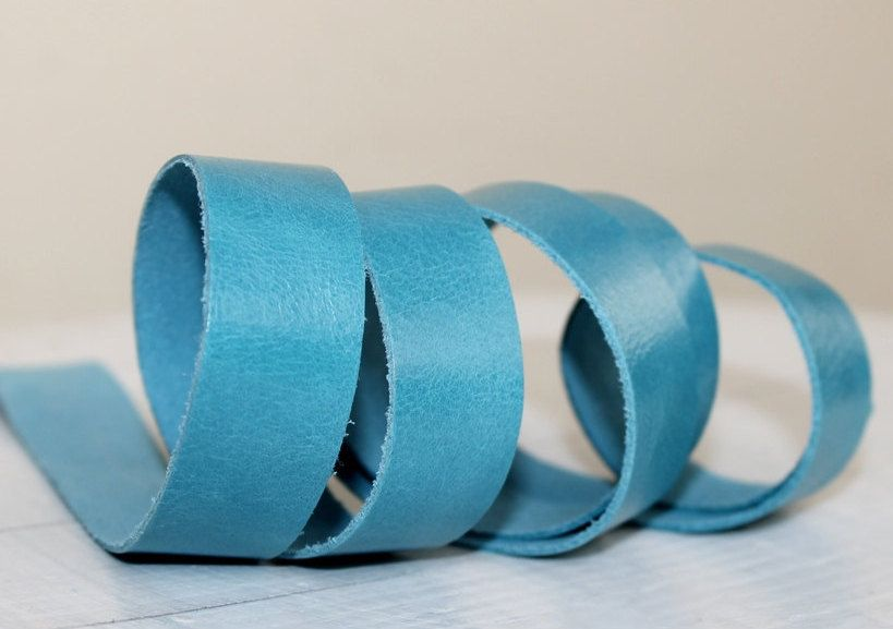 20mm  Light  Blue Genuine Leather Strap, 1 Yard by JLLeatherSupplies on Etsy