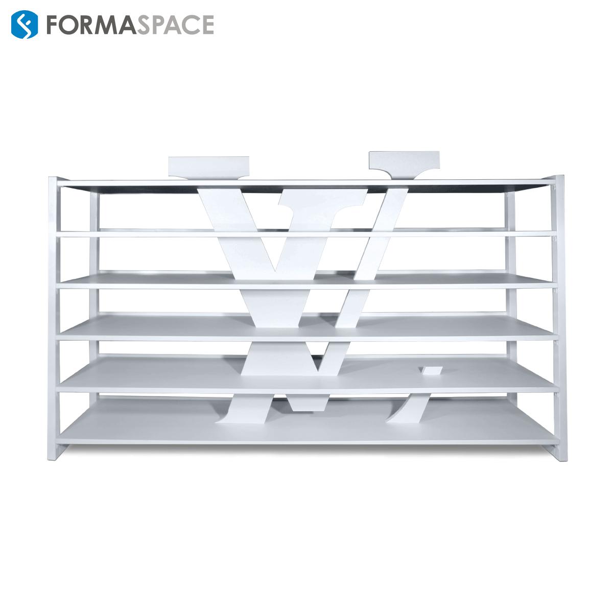 Custom Shelving For Designer Retailer Formaspace Custom White Laminate Shelves Surround Retailer S Log Custom Shelving Industrial Design Furniture Shelving