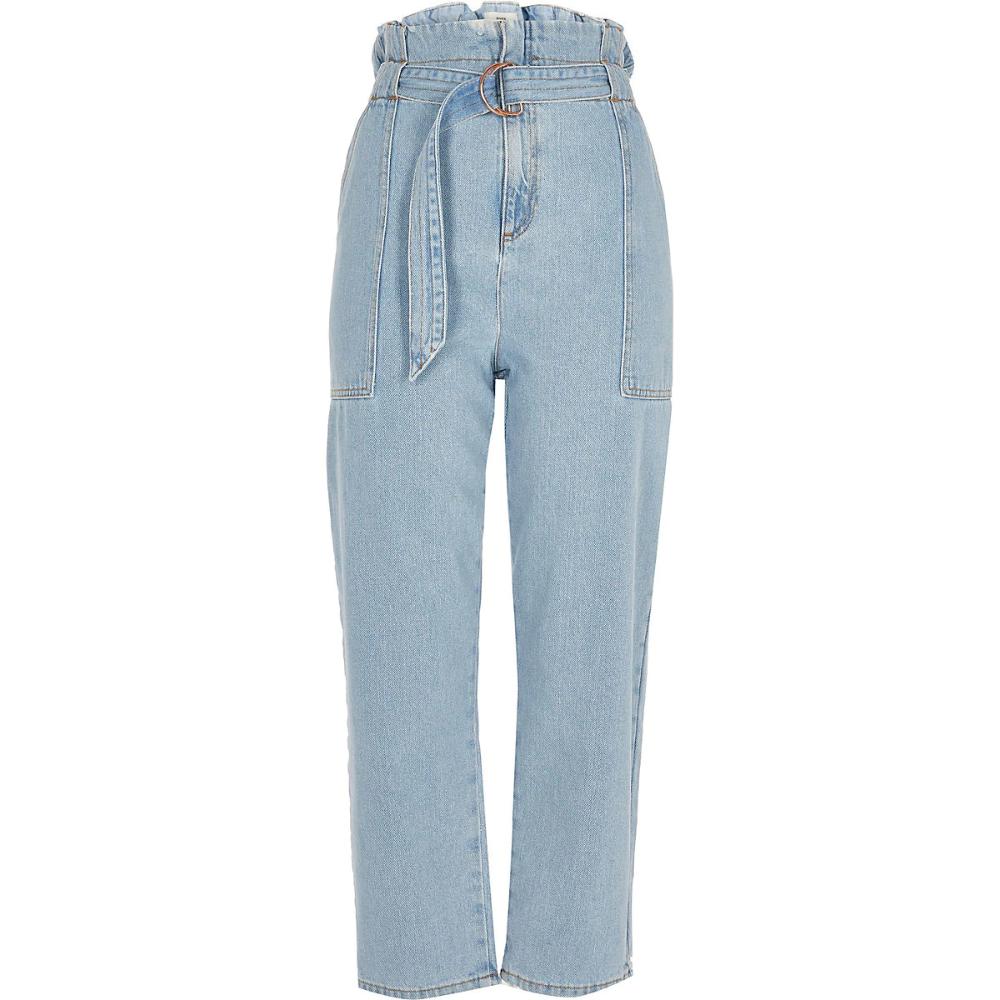 Light Denim Paperbag Waist Jeans Light Denim Light Blue Denim Women Jeans