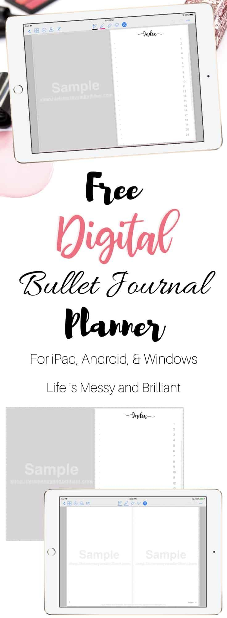 FREE Digital Planner with Hyperlinks Bullet journal