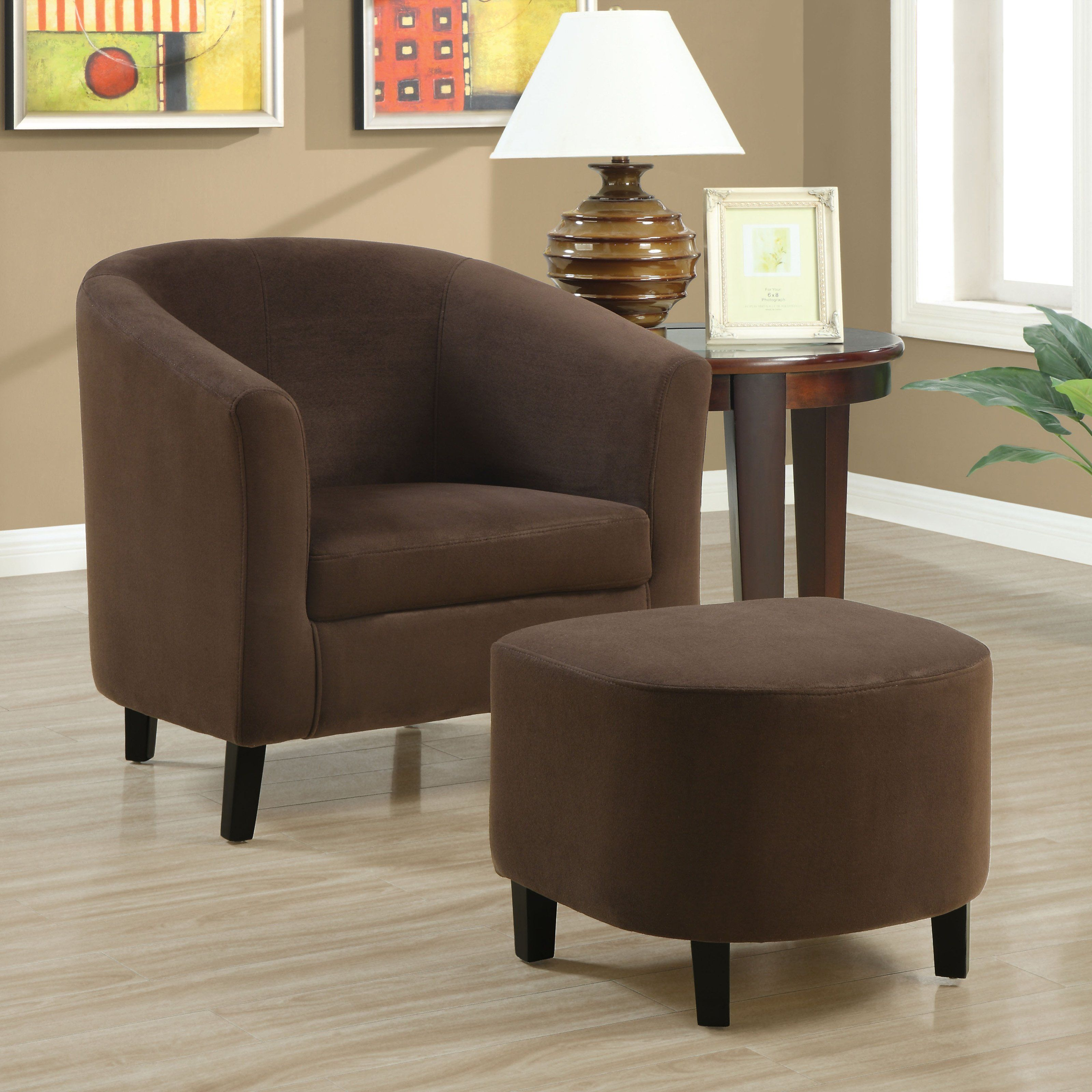 chocolate brown living room chairs orange curtains have to it asian padded micro fiber chair and ottoman 299 99