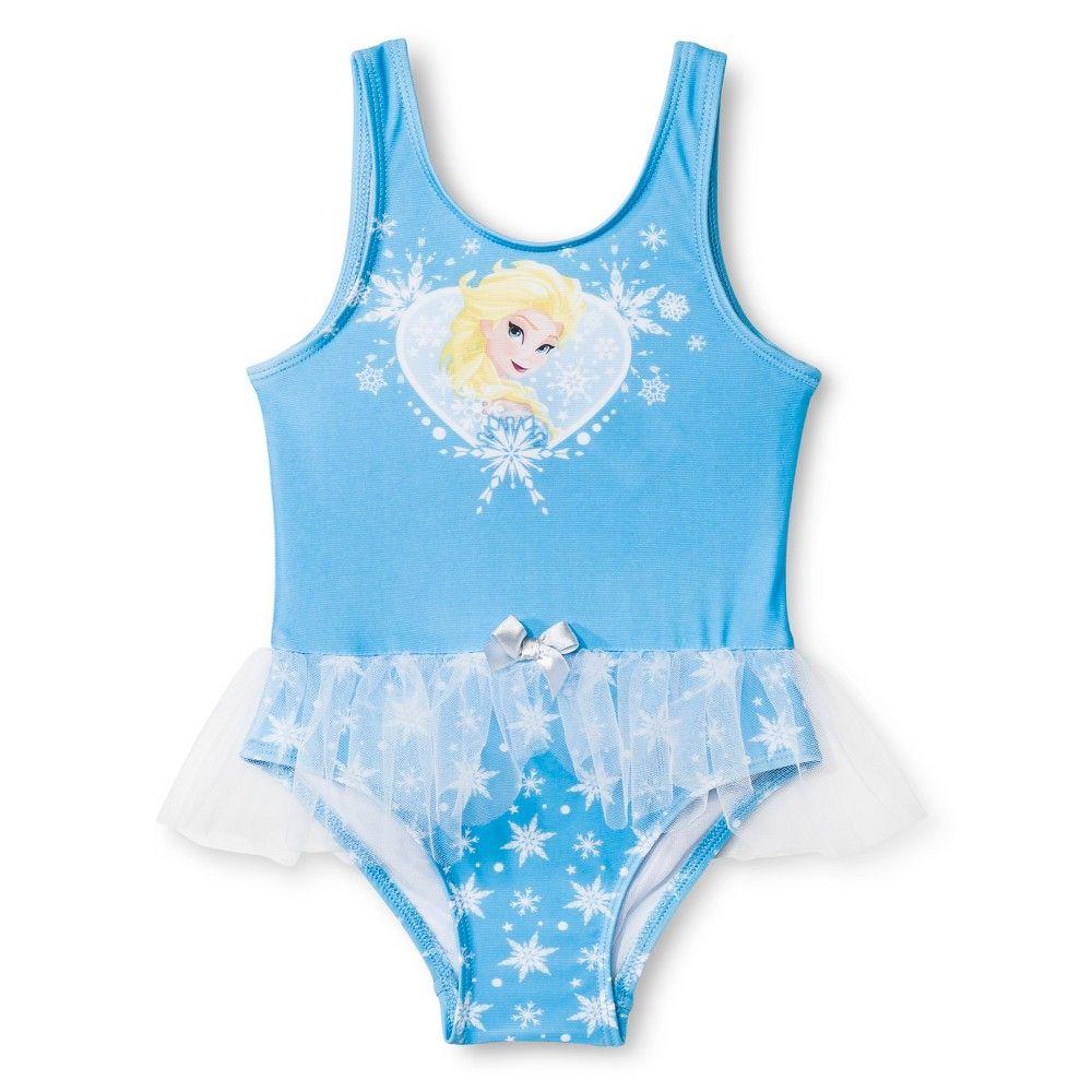 f8648df42733a Disney Frozen Elsa Toddler Girls' 1-Piece Tutu Swimsuit - Blue 4T ...