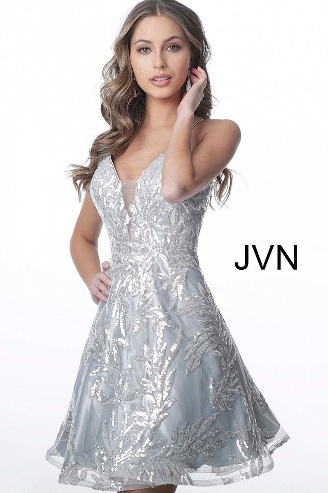 Silver plunging neck fit and flare short dress #JVN # ...