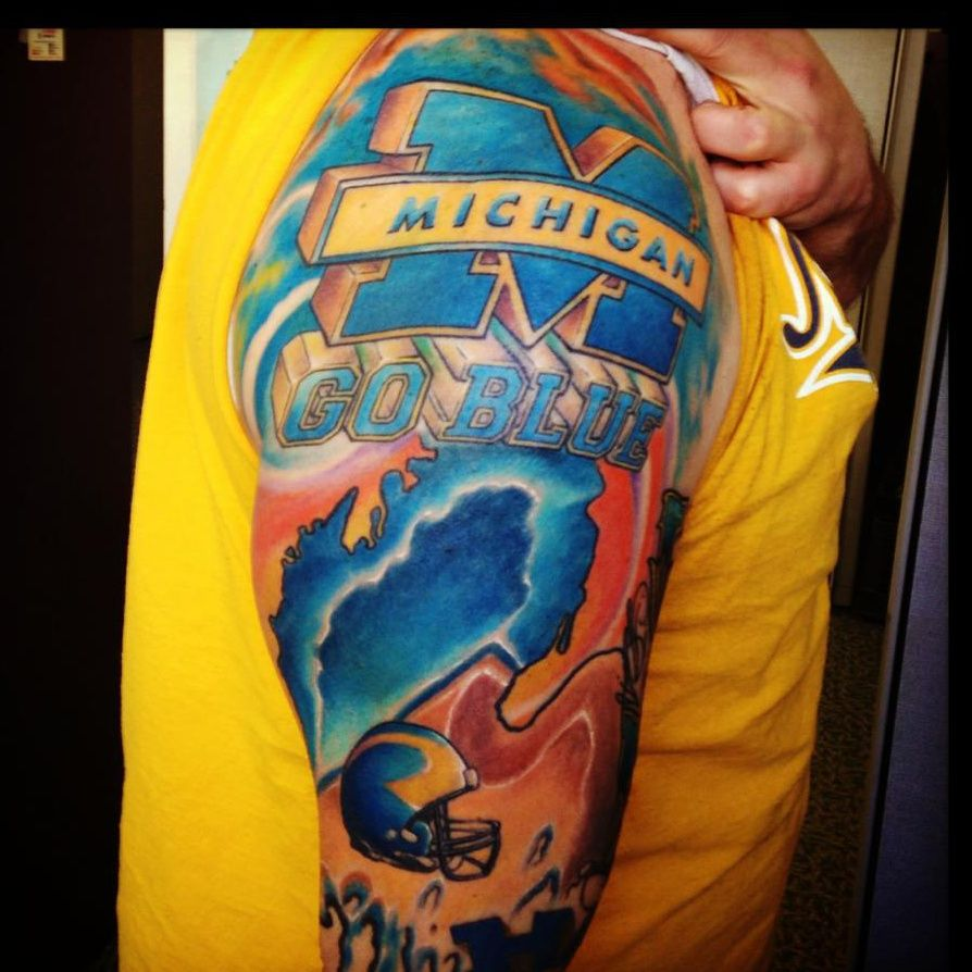 University of michigan sleeve by ray michalski at snake for Best tattoo artists in michigan