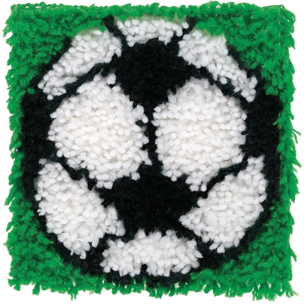Wonderart Soccer Ball Latch Hook Rug Kit Kids Craft 12 X Square Made In