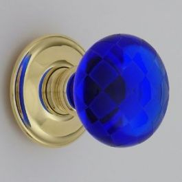 Blue Door Knob What?! Just Ditch The Gold For Silver And Its Perfect.