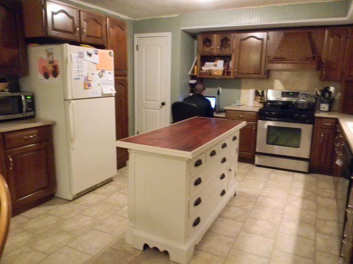 Kitchen island made from an old dresser. | Kitchen island ...