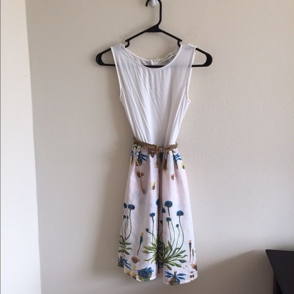 2 Piece White Tank Dress with Floral Skirt Size Medium. Not Zara Zara Skirts