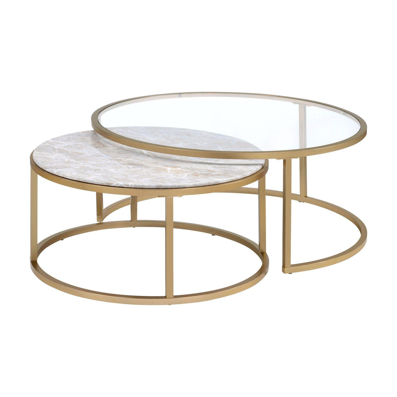 Acme Furniture Shanish 2 Piece Nesting Coffee Table Set Nesting Coffee Tables Gold Nesting Coffee Table Round Coffee Table Sets [ 1600 x 1600 Pixel ]