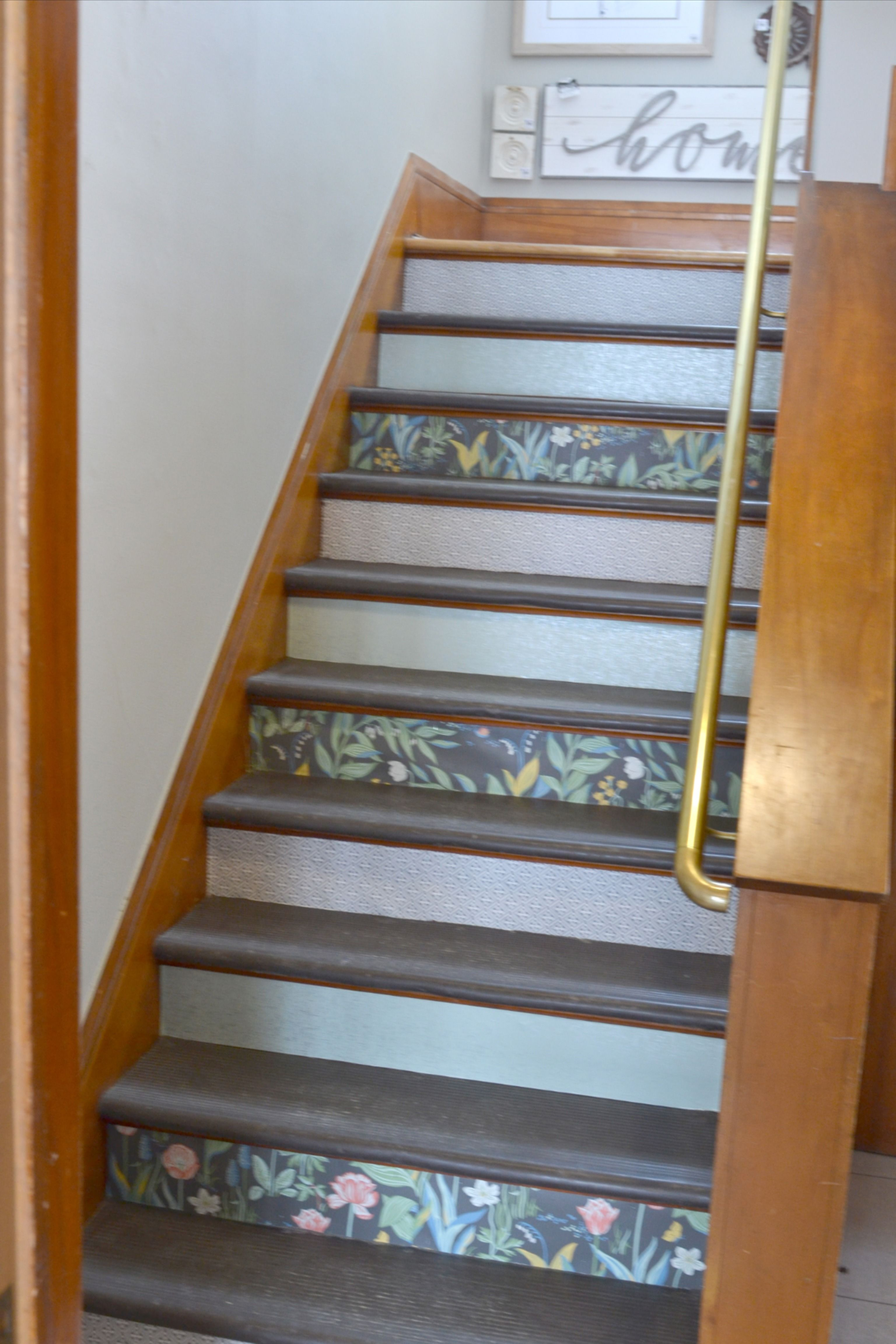 Wallpapered Stair Risers Outdoor living decor, Trending
