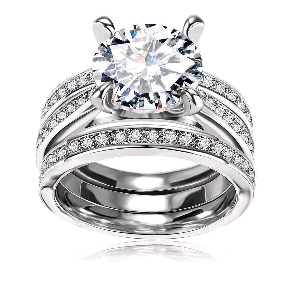 Cubic Zirconia Bridal Set Big Round Cz White Gold Plated Women Engagement Wedding Rin Wedding Ring Sets Engagement Wedding Ring Sets Wedding Rings Engagement