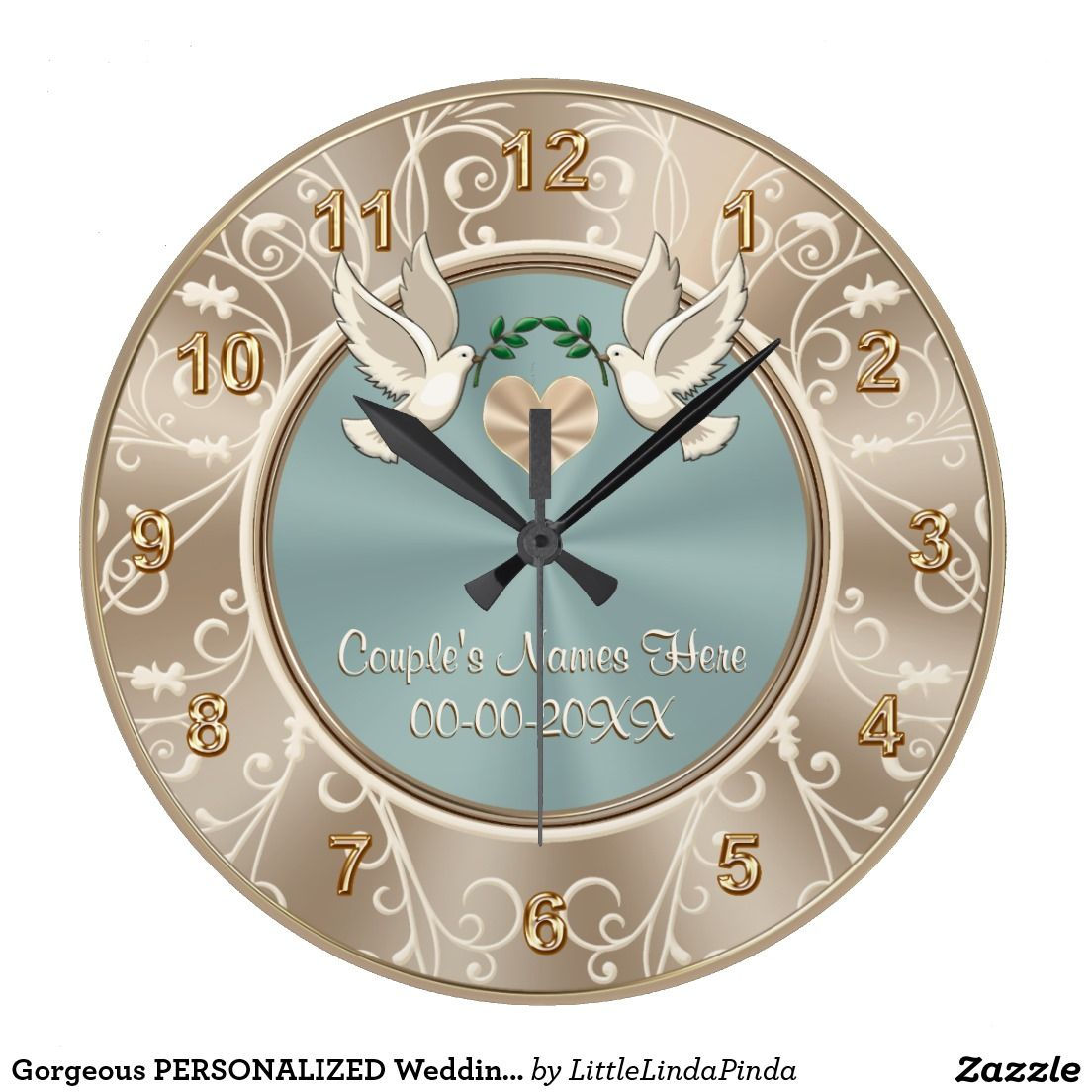 Gorgeous Love Doves Over Heart Personalized Wedding Clock S Names And Date Or