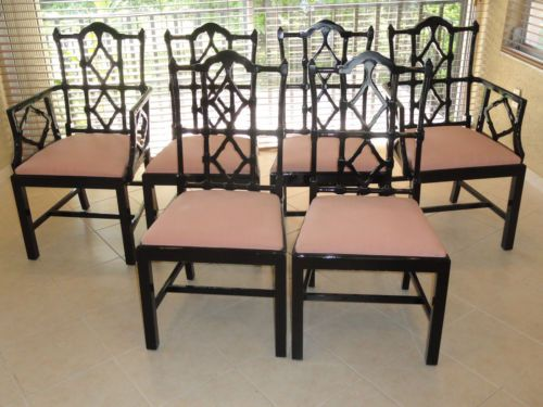 6 X Chic 70s Chinese Chippendale Black Lacquer Dining Chairs Valencia Spain  | EBay