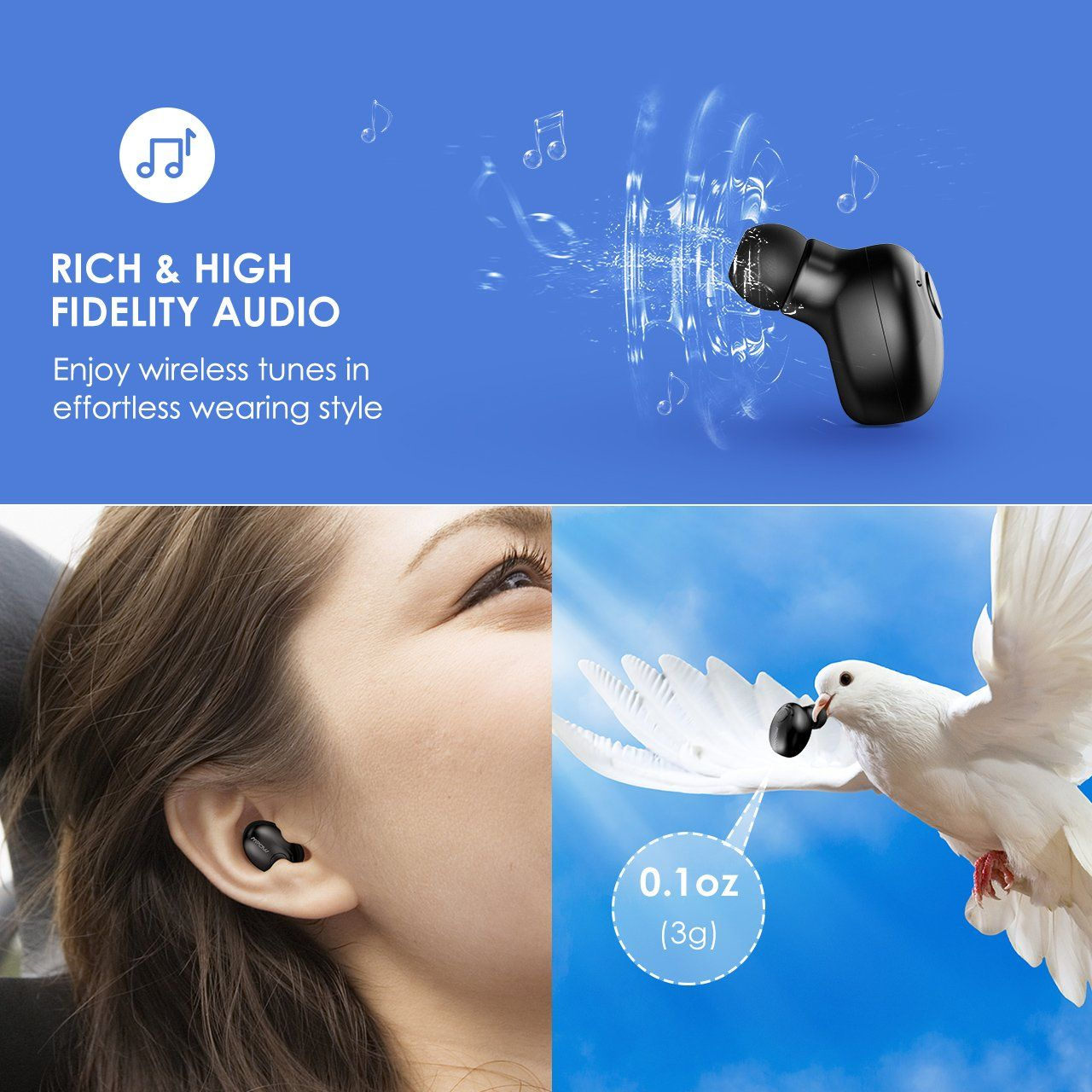 d306197a976 Mpow [Gen-2] Bluetooth Earbud, 6-Hrs Playtime Bluetooth Earpiece, V4 ...