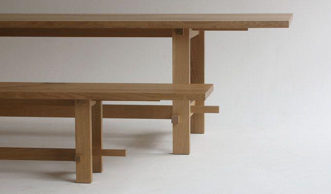 Tisch Esstisch mit Sitzbank Eichholm Eiche Massivholz mit - esstische aus massivholz ideen