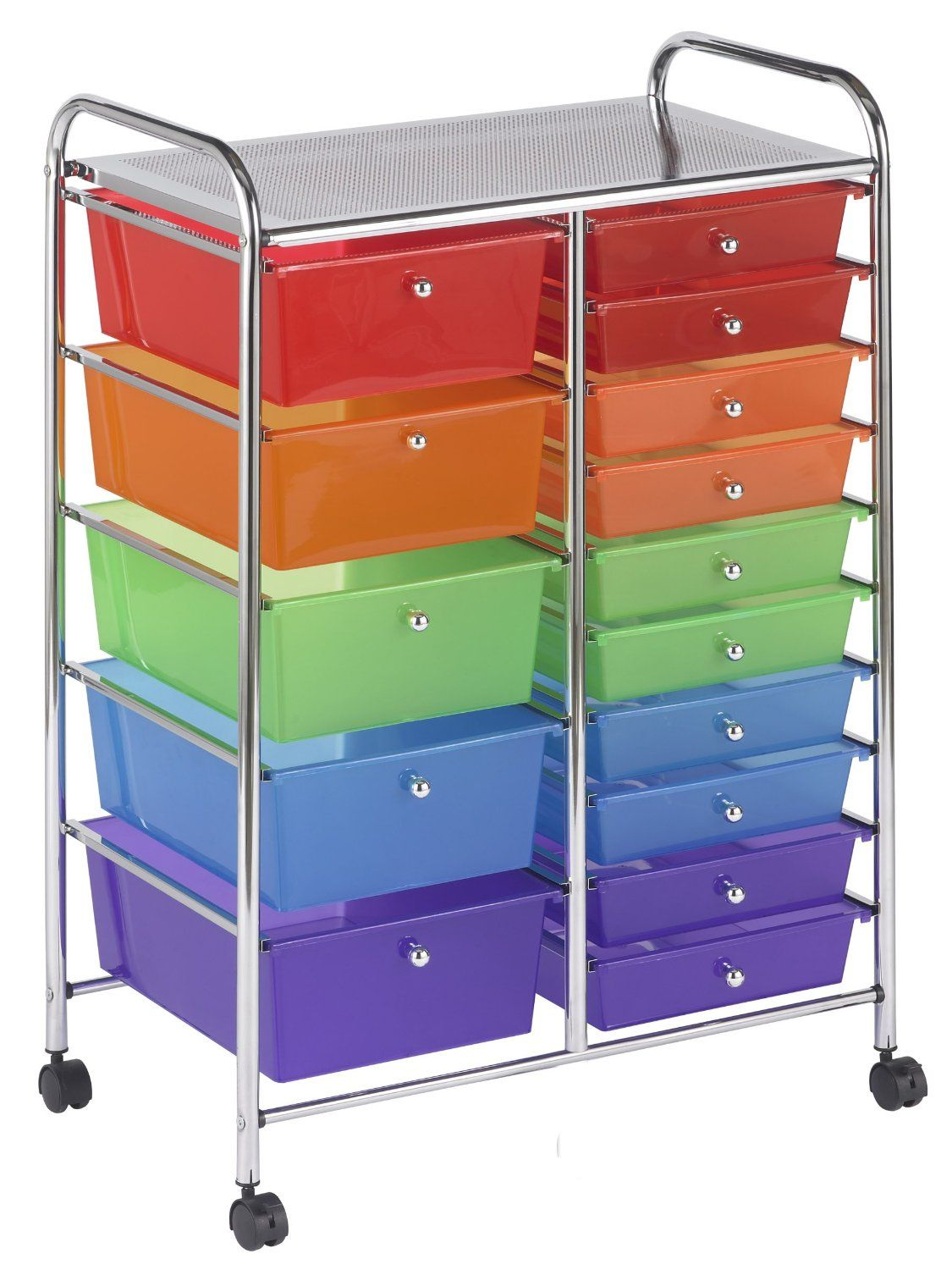 Rolling craft cart with drawers - Amazon Com Ecr4kids 15 Drawer Mobile Organizer Assorted Colors Arts