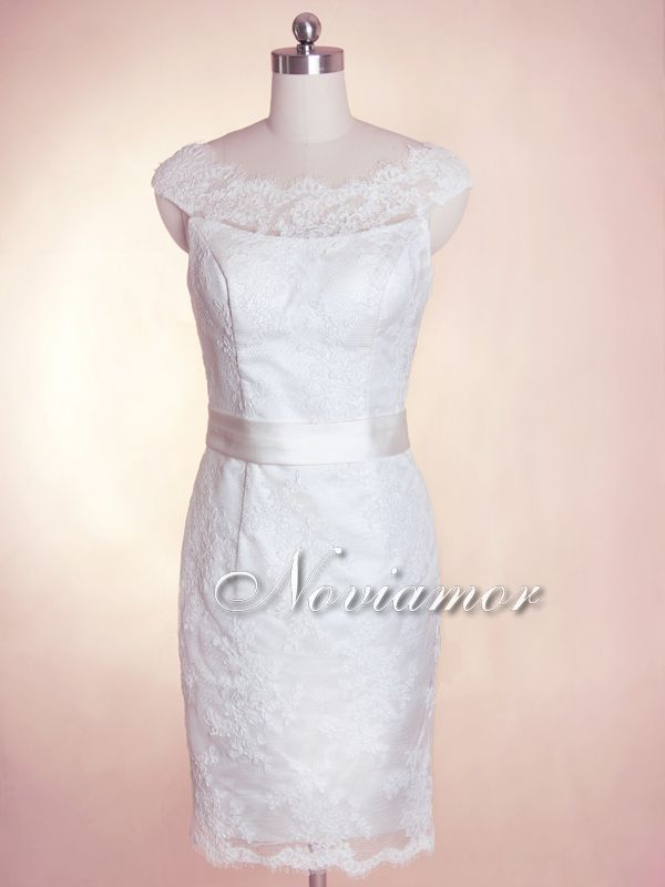 UK 2013 Elegant Sheer Neckline Short Sheath Lace Wedding Dress 7029 [7029]-Noviamor