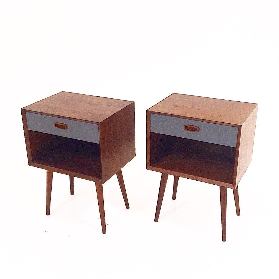 Mid-Century style nightstands. Handcrafted out of solid walnut, with lacquered…
