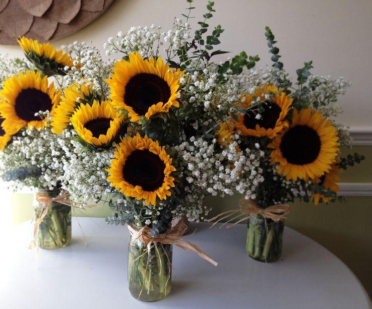 Sunflower And Baby 39 S Breath Wedding Bouquet Arrangement