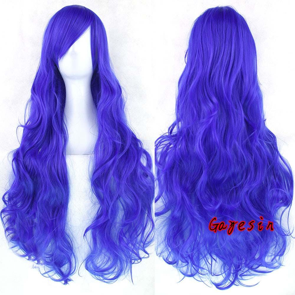 "Halloween Gift 32""/80cm Heat Resistant Solid Color Wig Long Wavy Curly Synthetic Hair Cosplay Hair Wigs Pink Black Blue Red-in Synthetic Wigs from Health & Beauty on Aliexpress.com 