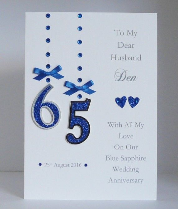 Personalised 65th Blue Sapphire Wedding Anniversary Card With Or Without Box 65th Birthday Cards Card Making Birthday Wedding Anniversary Cards
