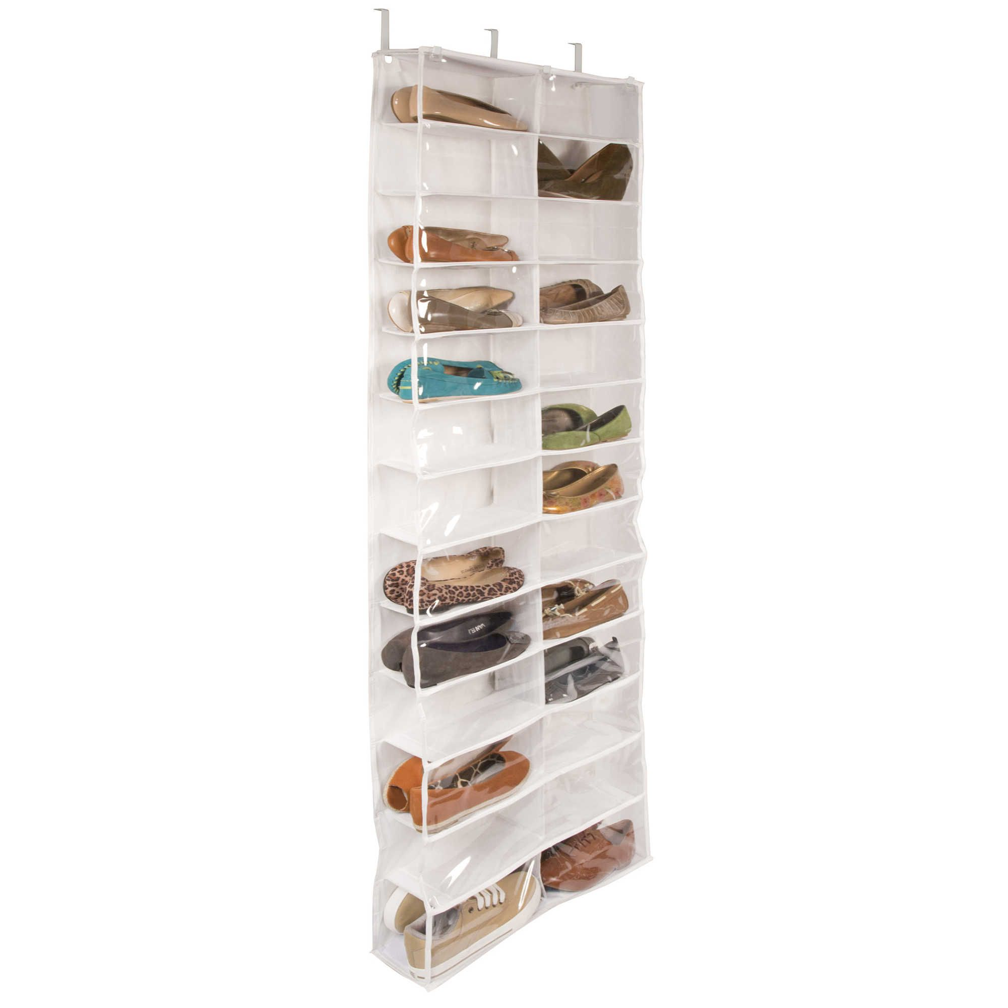 Closetware Clear Over The Door 26 Pocket Shoe Organizer Hanging Shoe Storage Door Shoe Organizer Shoe Organizer