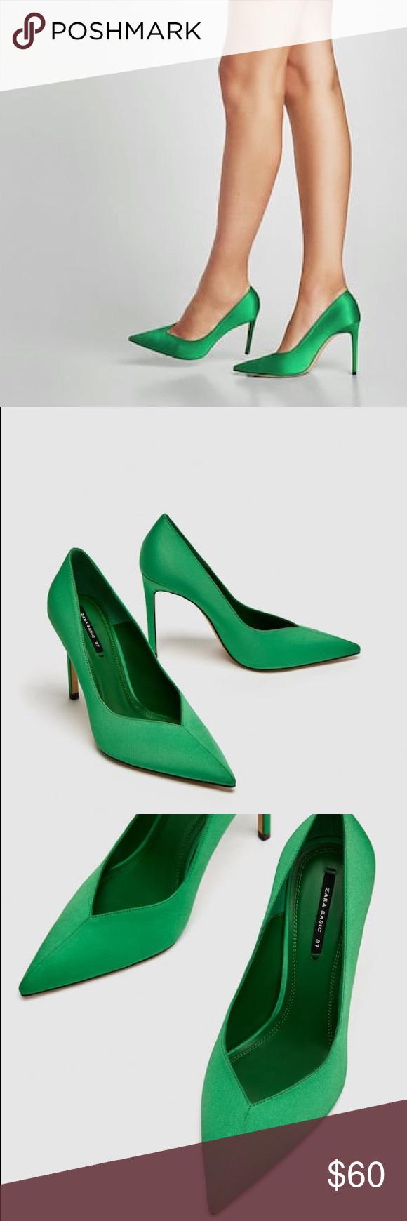 Nwt Zara Satin V Vamp High Heel Stiletto Heels Stiletto Heels Heels High Heels Stilettos