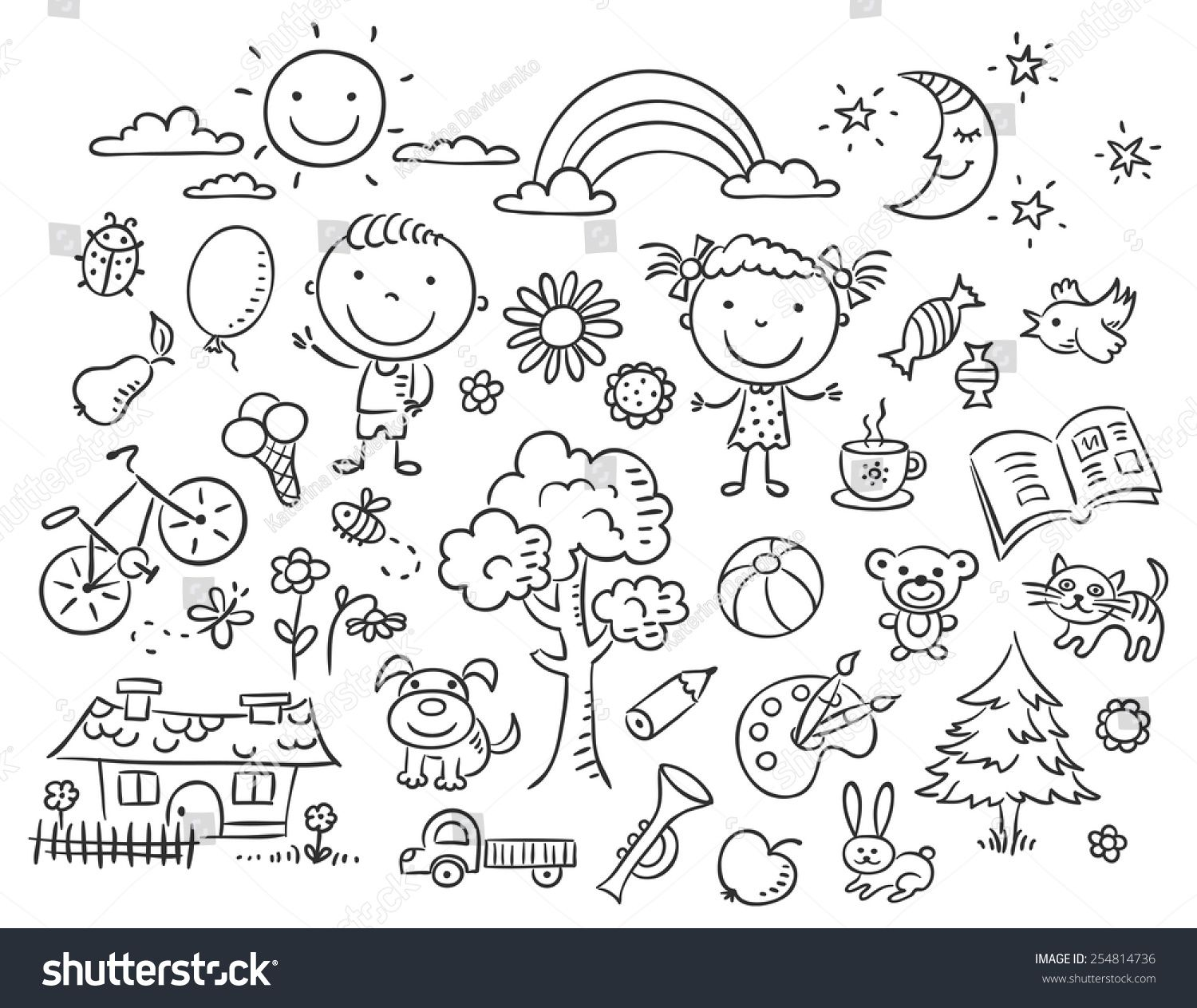 Doodle Set Of Objects From A Child S Life Black And White Outline Sponsored Ad Objects Child Doodle Set Doodle Ideeen Illustraties Kleurplaten