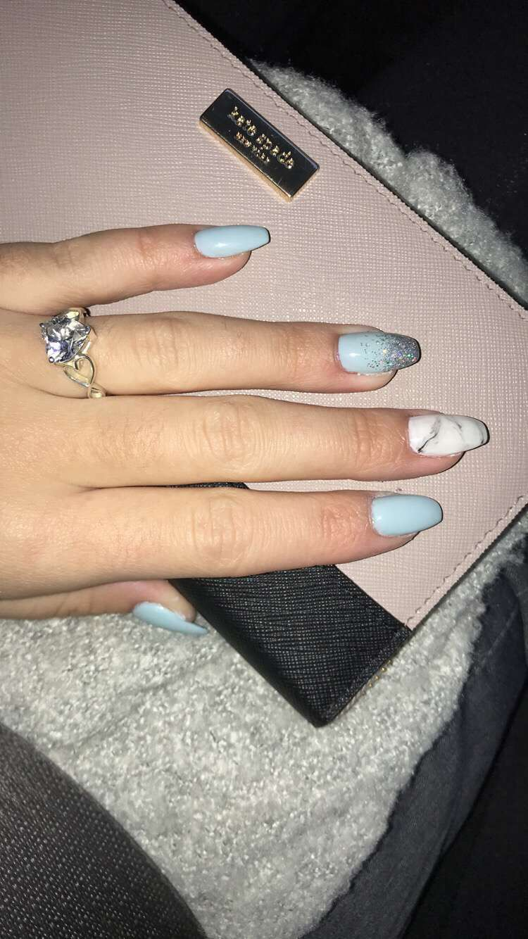 Baby Blue with Marble on coffin shaped nails! in 2019