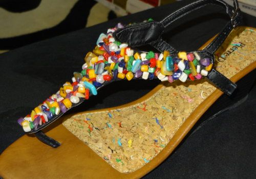 Multi Colored Beaded Sandal with Pearls Wedge Sandal